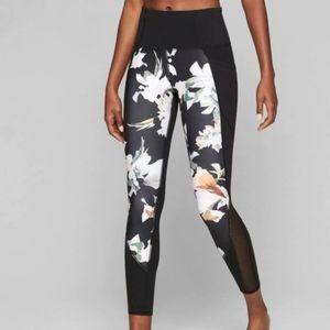 ATHLETA Blossom Black Floral High Waist Leggings M